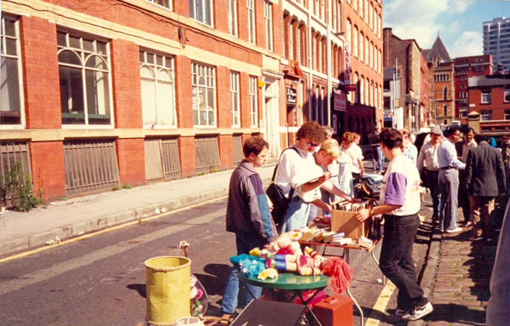 Jumble sale on Canal Street to raise money for those affected by HIV, 1989. Credit: Manchester Pride