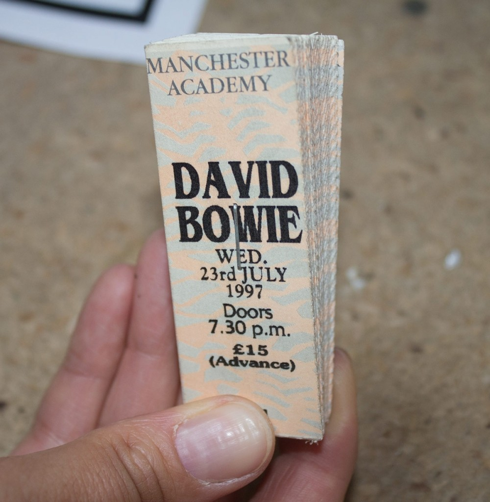 David Bowie ticket book, 1997. Courtesy of Sean Morgan.