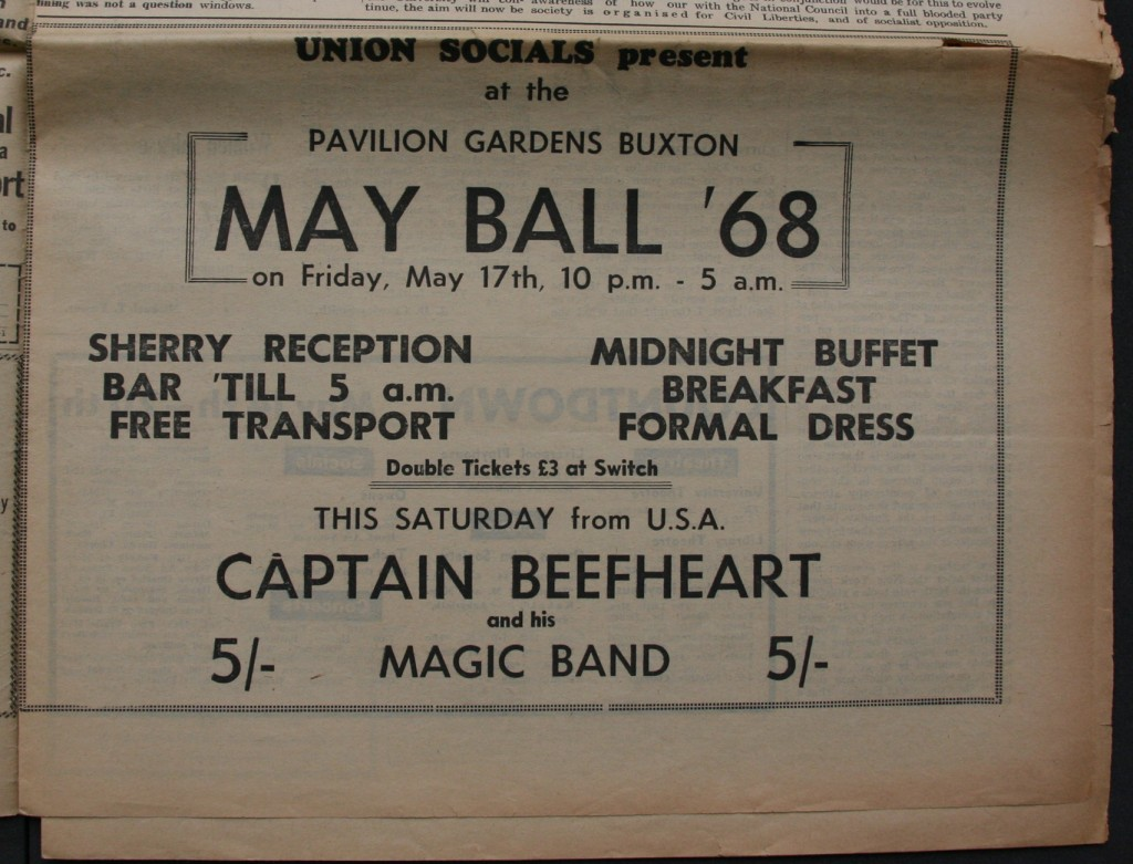 Advert for Captain Beefheart taken from The Manchester Independent, 1968. Courtesy of the University of Manchester Students' Union