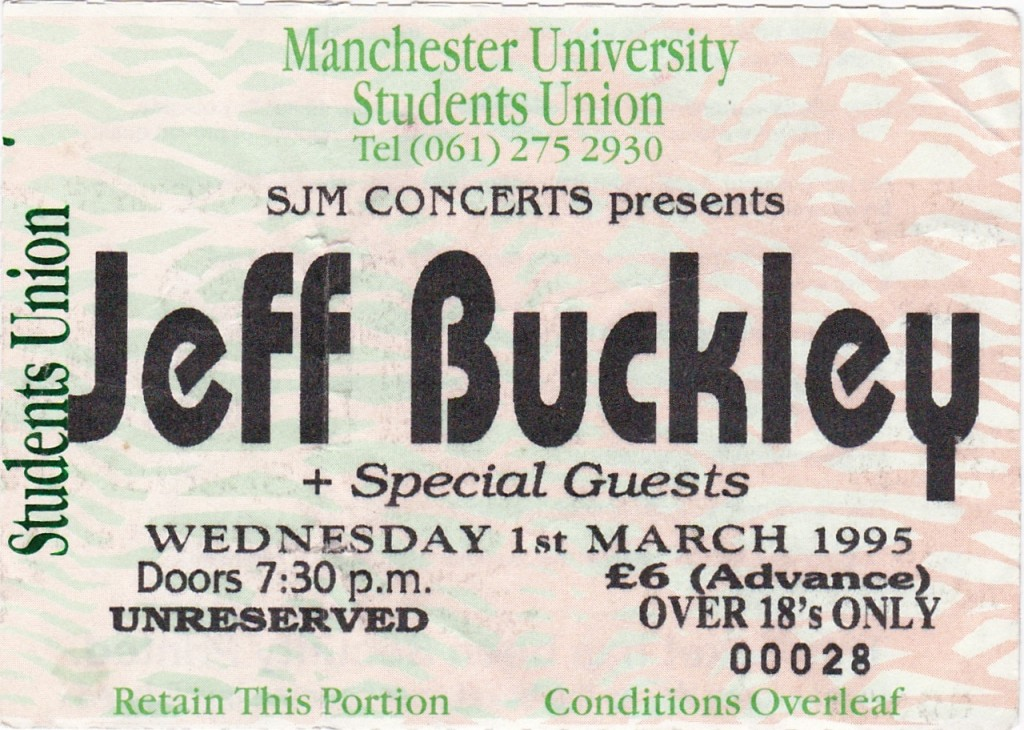 Ticket: Jeff Buckley, Manchester University, 1995. Courtesy: Abigail Ward