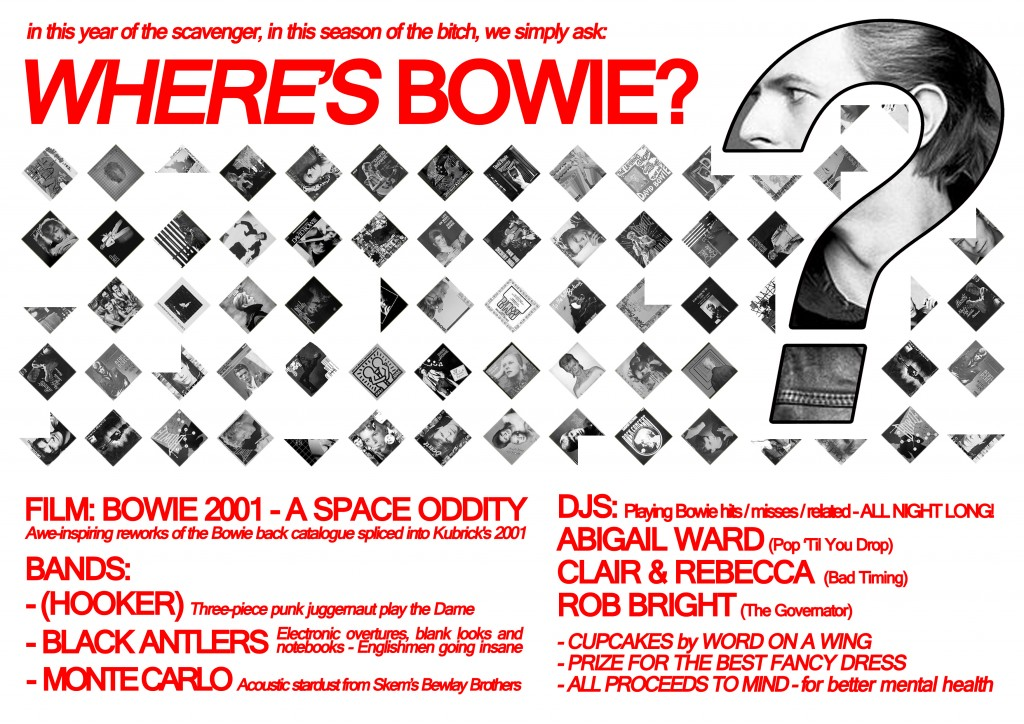 Flyer (reverse) for Where's Bowie?, 2011. Artwork: R. Marsh