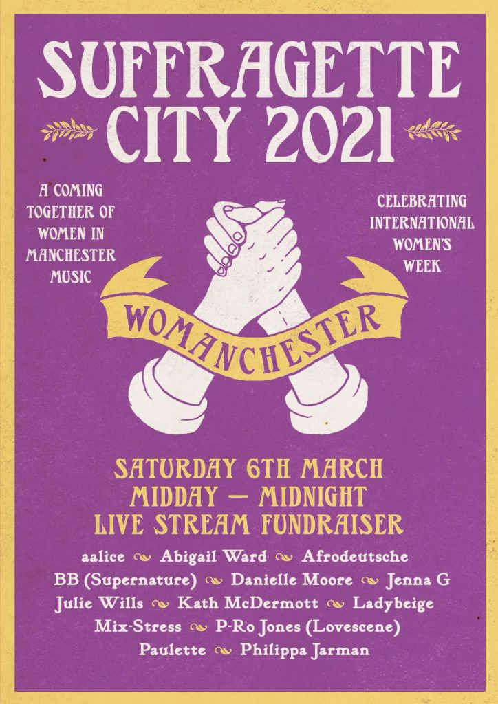 A poster for Suffragette City live stream 2021. It has a a drawn image of clasped hands and a list of DJs. It is purple and yellow.
